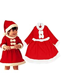 Bessky® 1 Set Girls Kids Baby Infant Santa Claus Christmas Hats and Dress Beautiful Fashion Children Dress with Long sleeve (18-24month(90))