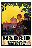 Madrid, Spain - Madrid in Springtime - Vintage Travel Advertisement (12x18 Aluminum Wall Sign, Wall Decor Ready to Hang)
