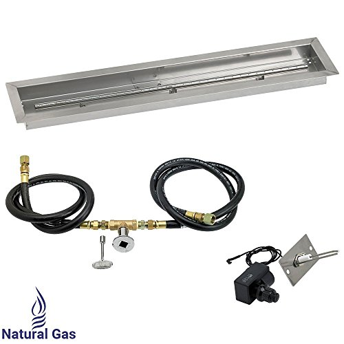 American Fireglass Spark Ignition Fire Pit Kit (SS-LCBKIT-N-36), Trough Pan, Natural Gas, - Pit Trough Fire