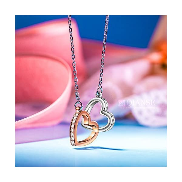 """QIANSE """"My Destiny"""" Double Heart Two Tone Necklace, Made with Swarovski Crystals"""