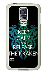 Samsung Galaxy S5 Keep Calm And Release The Kraken PC Custom Samsung Galaxy S5 Case Cover White