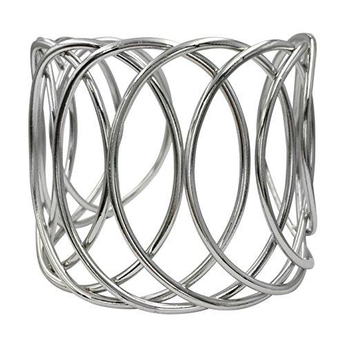 Looped Wire Open Circles Wide Cuff Bangle Bracelet (Silver Tone) (Wire Cuff)