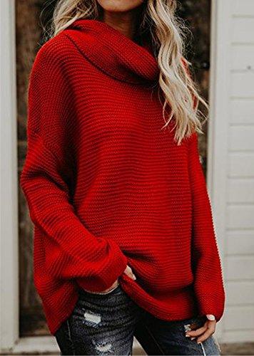 Giovane Moda Sweater Cime Inverno Manica Autunno Jumper Maglieria e Pullover Maglione Tinta Casual Collo Unita Lunga Bluse Tops Alto Donna 7zOTxz5q