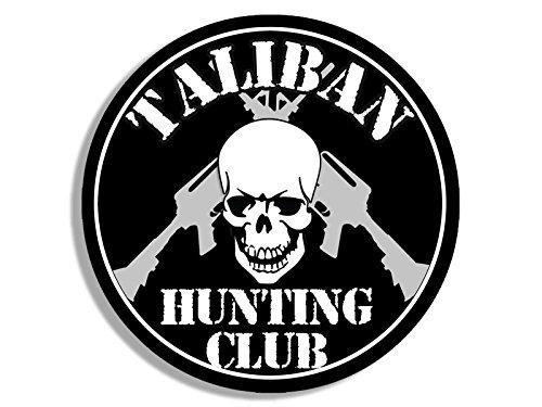 Round TALIBAN Hunting Club Sticker (skull ar-15 army military gun)
