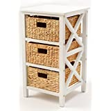 eHemco 3 Tier X-Side End Table/Cabinet Storage 3 Baskets (White)