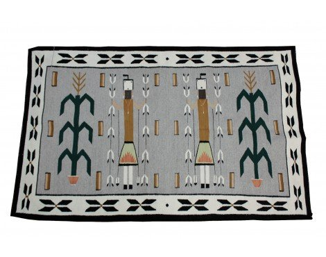 Perry Null Trading Mary Jim, Yei Rug with Cornstalk, Navajo Wool, Contemporary, 61