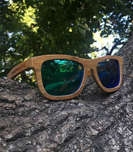 en Caja de Sol Unisexo Madera Polarizadas de Bambú Redondeada DINOMADic Verde Wayfarer Gafas 01wqn4S