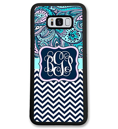 (Samsung Galaxy S7, Simply Customized Phone Case Compatible with Samsung Galaxy S7 [5.1 inch] Blue Pink Paisley Chevrons Monogram Monogrammed Personalized S751)