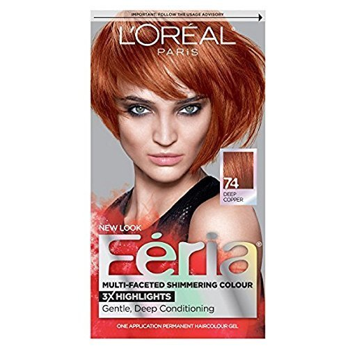 L'Oreal Feria Permanent Haircolor Gel - 74 Copper Shimmer (Deep Copper) 1 Each (Pack of 3)