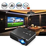 4200 Lumens LED Video Projector Home Cinema Theater Multimedia Full HD 1080P Support, Outdoor Movie Projector with HDMI USB VGA AV Audio for Iphone Ipad Mac Android Phone Tablet PC Laptop