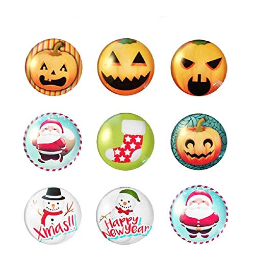 TEKEFT 9 PCS Festival refrigerator magnets about Christmas and Hallowmas Halloween decor gift Pumpkin head refrigerator ()