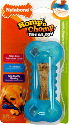 Nylabone Romp 'N Chomp Petit Chicken Flavored Freezer Bone Dog Treat and Chew Toy