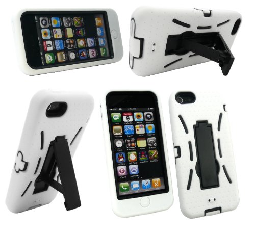 Emartbuy ® Apple Iphone 5 Impact Protection Case Dual Layer / Cover / Pelle Bianco