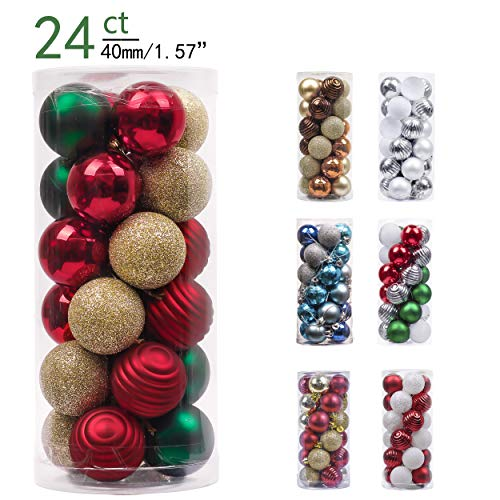 Cheap Christmas Ornaments (Valery Madelyn 24ct 40mm Country Road Red Green and Gold Basic Ball Shatterproof Christmas Ball Ornaments Decoration,Themed with Tree Skirt(Not)