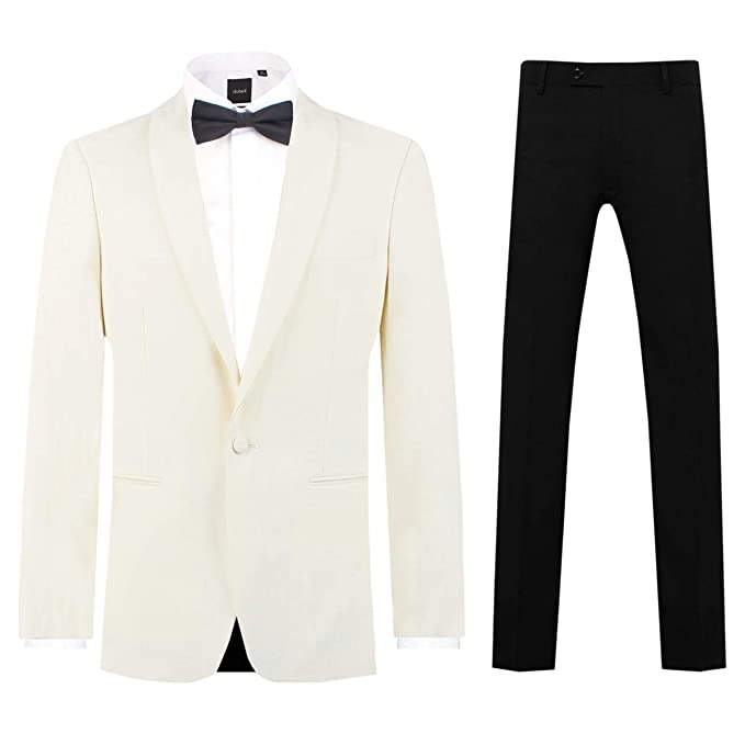 Men's Vintage Style Suits, Classic Suits Dobell Mens White 2 Piece Tuxedo Regular Fit Shawl Lapel Evening Dinner Suit Black Pants $139.95 AT vintagedancer.com