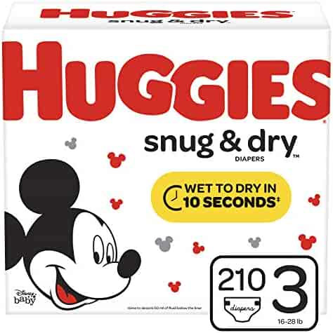 Huggies Snug & Dry Baby Diapers, Size 3 (fits 16-28 lb.), 210 Count, ONE MONTH SUPPLY (Packaging May Vary)