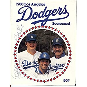 Dusty Baker Derrel Thomas Signed Autographed 1980 Scorecard Magazine Dodgers COA