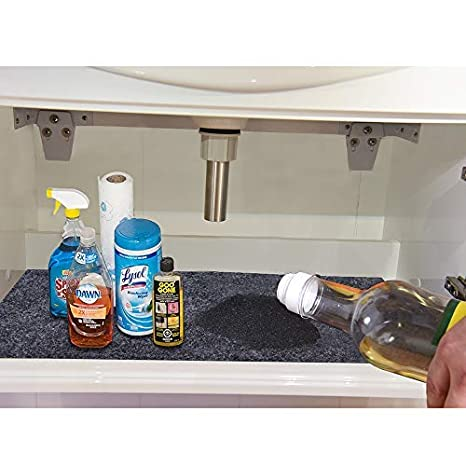 Kalasoneer Under The Sink Mat For Cabinet Drawer Kitchen Tray Drip Cabinet Liner Absorbent Fabric Layer Anti Slip Waterproof