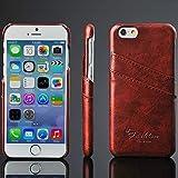 [iPhone 5 5S ] Arcraft(TM) Luxury Genuine Leather Ultra Slim / Slip Card Holder / Premium Bright Leather Wallet Case Cover