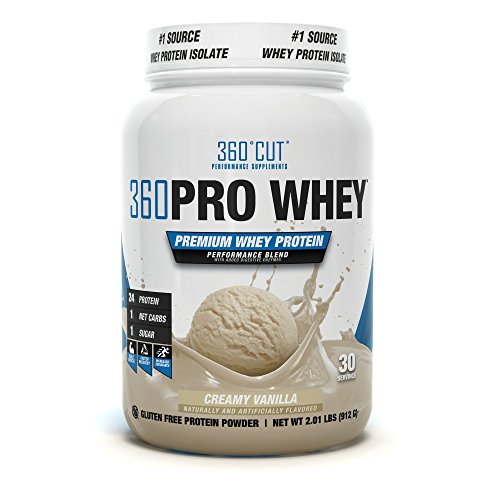 360CUT PRO Whey – Pure Whey Protein Isolate Protein Powder to Boost Metabolism, Build Lean Muscle Mass, Enhance Recovery – Gluten Free, Easy to Digest Whey Protein Powder – Creamy Vanilla 30 Servings