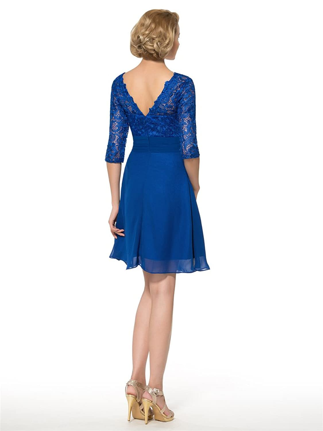 CLOCOLOR Women's Knee-length Chiffon Lace Double V-neck Mother of the Bride Dress for Weddings