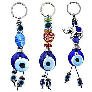 Erbulus Turkish Blue Evil Eye Keychain Amulet - Heart and Elephant - Gift for Men or Women (Set of 3) (Red)