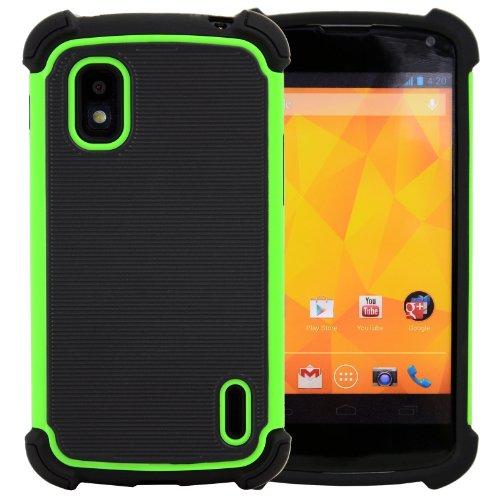 CellJoy Armor Triple Layered Back Cover Case for LG Google Nexus 4 E960- Lime Green & Black [CellJoy Retail Packaging]
