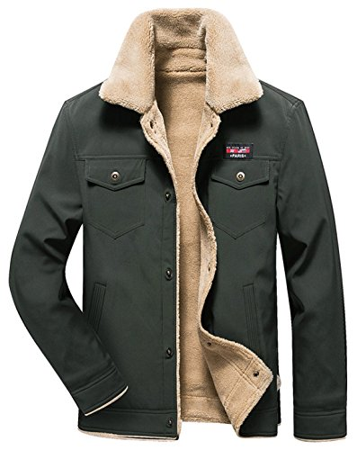 - HOW'ON Men's Casual Sherpa Fleece Lined Jacket Warm Coat with Fur Collar Army Green M