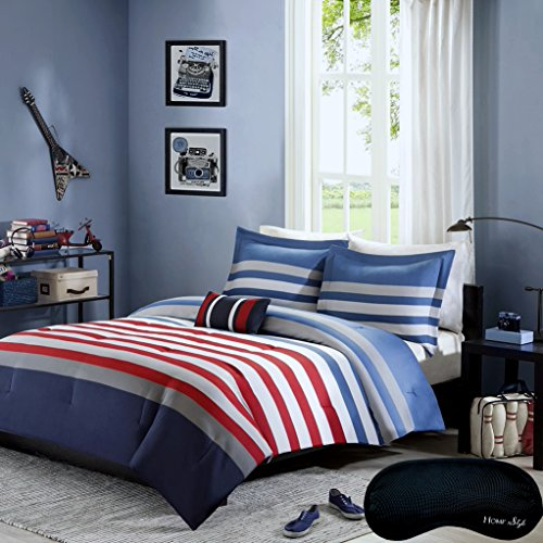 Teen Boys Nautical Rugby Stripe Bedding TWIN TWIN XL Comforter + Matching Sham + Decorative Throw Pillow + Home Style Brand Sleep Mask Red Blue Gray White 5 Pc Set Comforter Sets For Kids Boy Teens - Flag Comforter Set