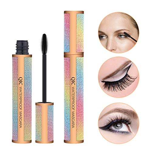 Midenso 4D Lash Mascara Silk Fiber Eyelash Mascara Waterproof Thicker Longer Voluminous Eyelashes Makeup Long Lasting with Hypoallergenic Ingredients Non-toxic and Natural (Champagne Gold) -