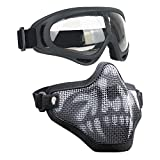 Airsoft Masks- Adjustable Half Metal Steel Mesh Face Mask And UV400 Goggles Set For Hunting, Paintball, Shooting (Black Skull, 1 Set)