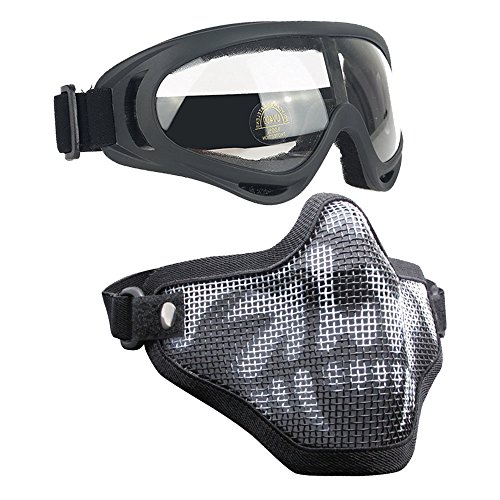 Infityle Airsoft Masks- Adjustable Half Metal Steel Mesh Face Mask and UV400 Goggles Set for Hunting, Paintball, Shooting (1 Set Black Skull, 1 Set) ()