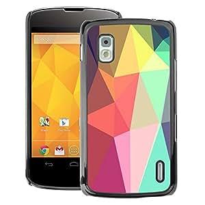 A-type Arte & diseño plástico duro Fundas Cover Cubre Hard Case Cover para LG Nexus 4 E960 (Shapes Lollipop Android Purple)