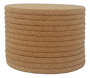 """Cork Coasters - 4"""" x 4"""" - 1/4 Thick - Round Edges - Pack of 12"""