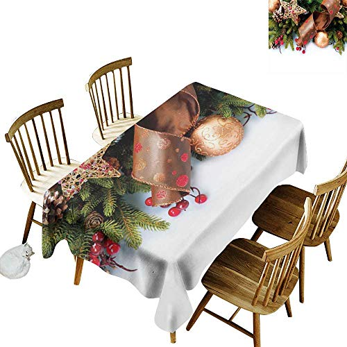(W Machine Sky Waterproof Tablecloth Christmas Pine Cones with Garland Tree Topper Star Mistletoe and Swirled Ornate Elements W70 xL90 for Family Dinners,Parties,Everyday Use)