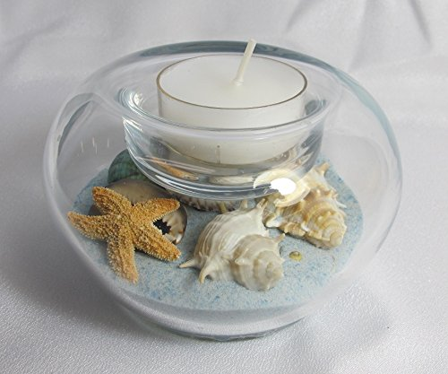 (Sand & Shell Tealight Candleholder 4-inch Diameter. Seabreeze (White/blue Mix) Sand.)