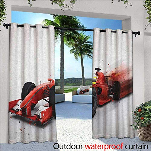 - Cars Balcony Curtains Generic Formula 1 Racing Car Illustration with Special Effect Turbo Motion Auto Print Outdoor Patio Curtains Waterproof with Grommets W108 x L108 Red Black