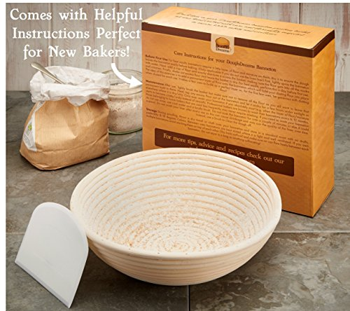 Bread Proofing Basket 10 Inch Set | Large Rattan Banneton w/ Dough Scraper, Linen Liner and Helpful Instructions | Perfect for New Bakers | For Artisan Boule Sourdough Bread Making by DoughDreams (Image #2)