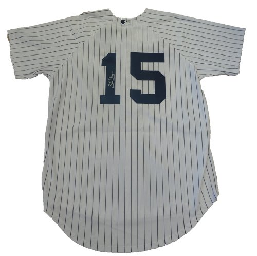 (Shelley Duncan Autographed New York Yankees Pinstripe Jersey W/PROOF, Picture of Shelley Signing For Us, New York Yankees, Cleveland Indians, Tampa Bay Rays, World Series Champion)
