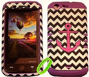 Cellphone Trendz HARD & SOFT RUBBER HYBRID ROCKER CASE COVER For BLU Life One L120 - Pink Anchor On Black And White Chevron Hard Shell (Light Purple)