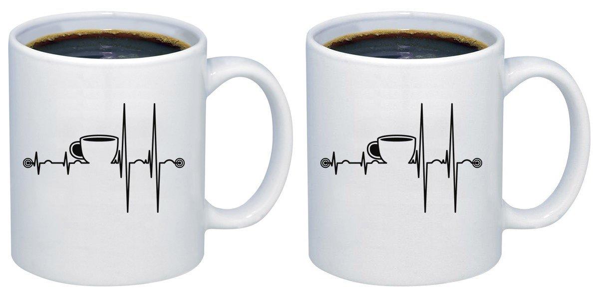 P & BコーヒーHeart Beatセラミックコーヒーマグカップm251 11oz. (set of 2) ホワイト B077C7QJH9   11oz. (set of 2)