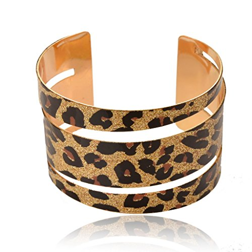SUMAJU Sexy Print Leopard Hollowed Glitter Sparkle Open Cuff Adjustable Bangle Bracelet