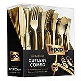 Juego de 160 cubiertos de plástico desechables, 80 tenedores de plástico, 40 cucharas de plástico, 40 cuchillos de cubiertos resistentes para fiestas, paquete de gran tamaño, Sólido, Dorado, Tamaño grande, 160