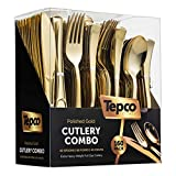 160 Plastic Silverware Set - Plastic Cutlery Set - Disposable Flatware - 80 Plastic Forks, 40 Plastic Spoons, 40 Cutlery Knives Heavy Duty Silverware for Party Bulk Pack (Gold)