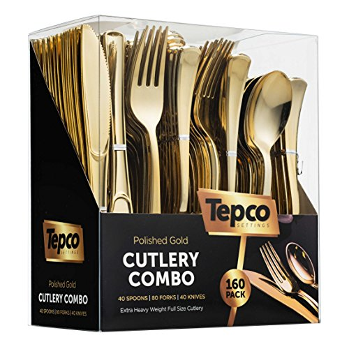 160 Gold Plastic Silverware Set - Plastic Gold Cutlery Set - Disposable Flatware Gold - 80 Gold Plastic Forks, 40 Gold Plastic Spoons, 40 Gold Cutlery Knives Heavy Duty Silverware for Party Bulk Pack