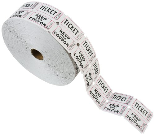 PM Company Double Deposit One, Keep One Ticket Roll, White,  1 Roll of 2000 Tickets (59005)