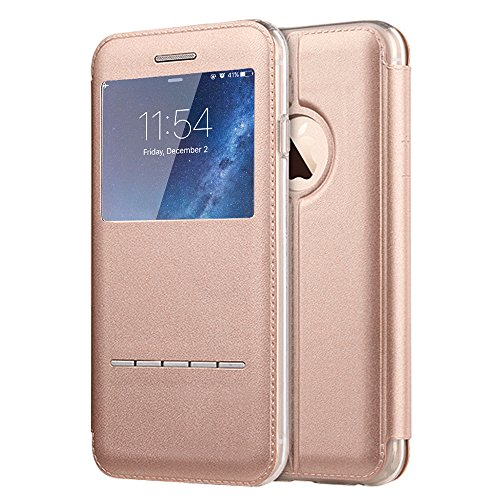 iPhone 7 Plus Case, [Touch Series] [View Window] Folio Flip PU Leather Case [Magnetic Closure], Unique Case for iPhone7 Plus with Stand & Metal Sensor 5.5 inch (Rose Gold)