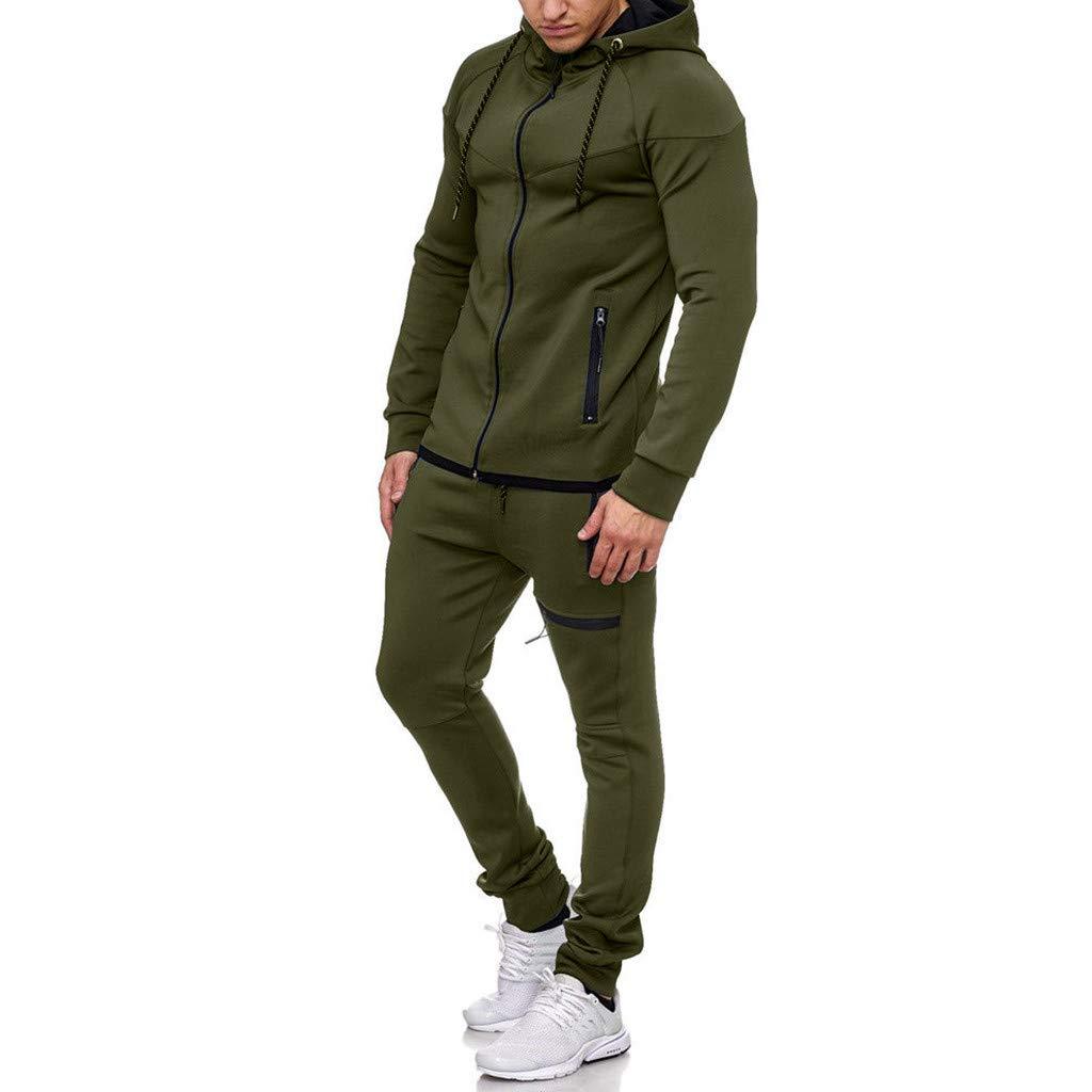 1KTon Men's Autumn Winter Patchwork Solid Color Hooded Sweatshirt Top Pants Sets Sports Suit Tracksuit by 1KTon