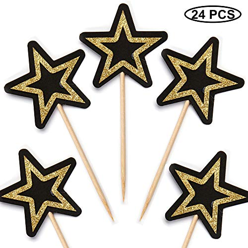 Suntop Pack of 24 Glitter Star Cupcake Toppers Party Food Cake Picks Decorac Supplies