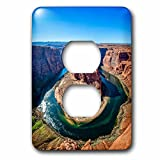 3dRose DanielaPhotography - Landscape, Nature - View from the edge of the cliff at Horseshoe Bend, Arizona, USA. - Light Switch Covers - 2 plug outlet cover (lsp_281961_6)